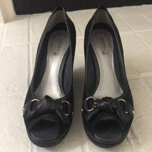 Sperry peep toe wedges